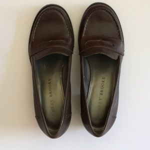 Audrey Brooke Brown Leather Loafers